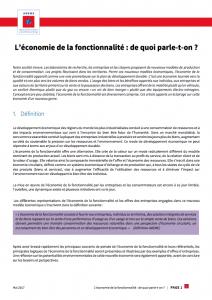 Definition eocnomie de la fonctionnalite ademe